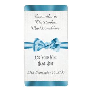 Pale blue satin ribbon bow wedding wine bottle shipping label