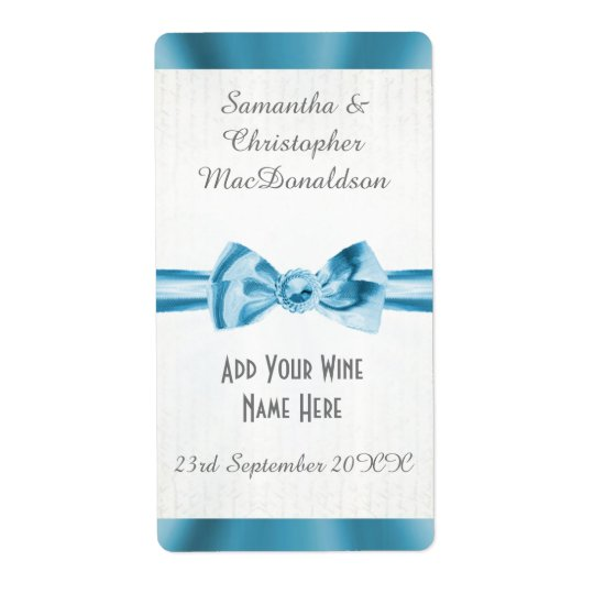 Pale blue satin ribbon bow wedding wine bottle