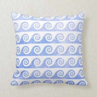 Pale Blue Sea Waves Pattern, Nautical Inspired Cushion
