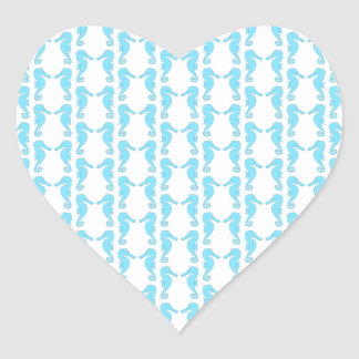 Pale Blue Seahorse Pattern Heart Sticker