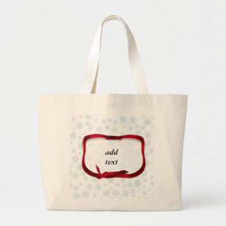Pale Blue Snowflakes with Red Ribbon Tag Jumbo Tote Bag