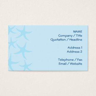 Pale Blue Starfish Pattern. Business Card