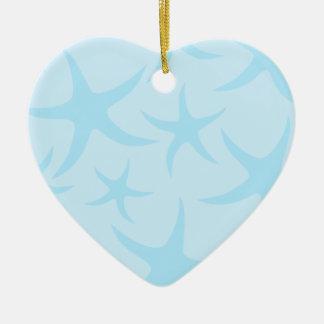 Pale Blue Starfish Pattern. Christmas Ornament
