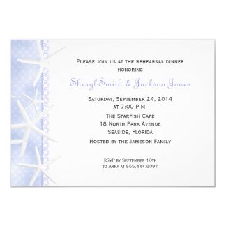 Pale Blue Starfish Wedding Rehearsal Dinner Invite