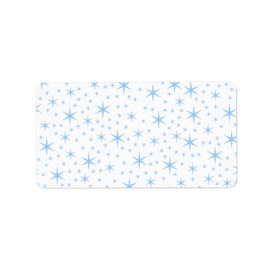 Pale Blue Stars Pattern. Address Label