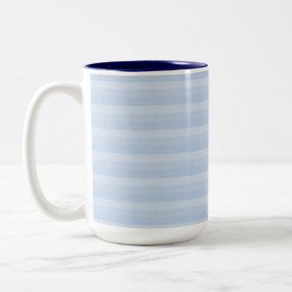 Pale Blue Stripes. Two-Tone Coffee Mug