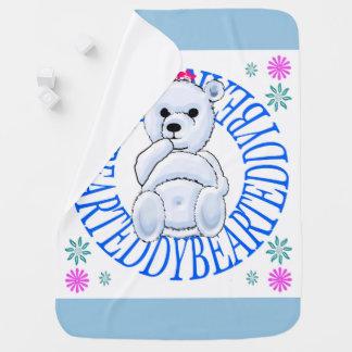 Pale Blue Teddy Bear Throw Blanket. Swaddle Blankets