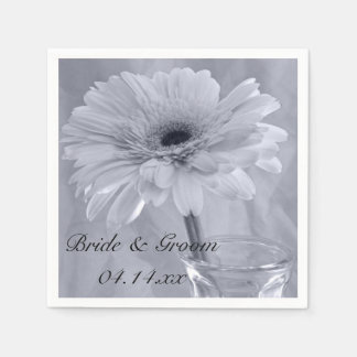 Pale Blue Tinted Daisy Wedding Disposable Serviettes