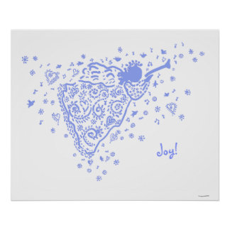 Pale Blue Trumpet Angel poster