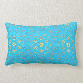 pale blue & yellow pastel geometric floral lumbar cushion