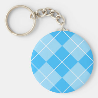 Pale Blues Argyle Basic Round Button Key Ring