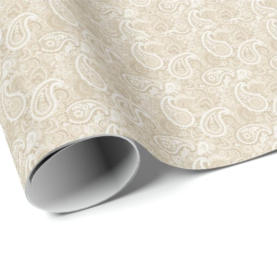 Pale Brown Paisley Wrapping Paper