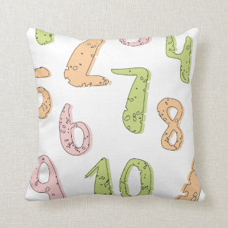 Pale colored numerical throw pillow