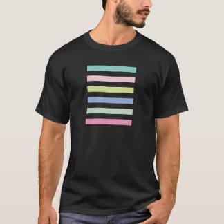 Pale Coloured Stripes Black Adult Tee Shirt