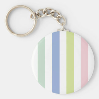 Pale Coloured Stripes Keychain/Keyring Basic Round Button Key Ring