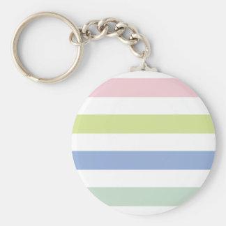 Pale Coloured Stripes Keychain/Keyring Basic Round Button Key Ring