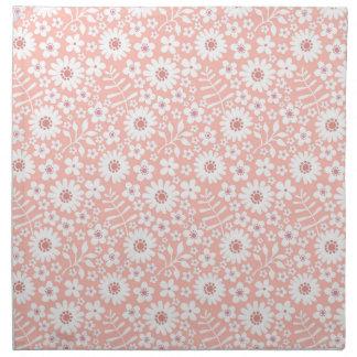 Pale Coral Flower Pattern Cloth Napkins (set of 4)
