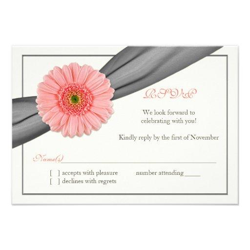 Pale Coral Gerbera Grey Ribbon Wedding Reply Card