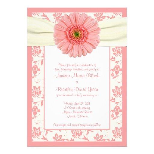 Pale Coral Gerbera Ivory Floral Wedding Invitation