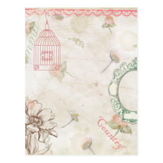 Pale Country Chic in Pink and Green Postcards
