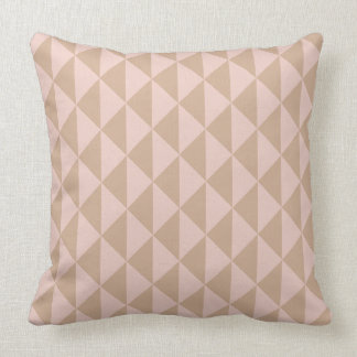Pale Dogwood Pink and Hazelnut Brown Geometric Cushion