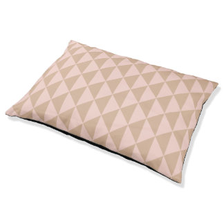 Pale Dogwood Pink and Hazelnut Brown Geometric Pet Bed