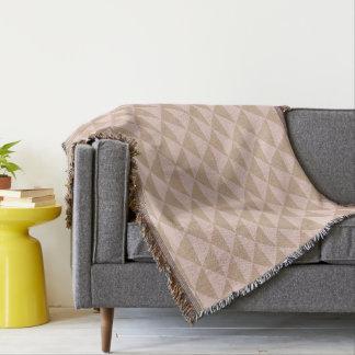 Pale Dogwood Pink and Hazelnut Brown Geometric Throw Blanket