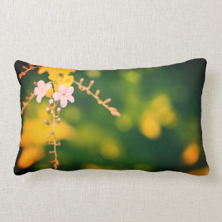 Pale Flowers Green Background Cushion Pillow