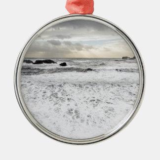 Pale foamy ocean seascape, Iceland Christmas Ornament