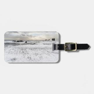 Pale foamy ocean seascape, Iceland Luggage Tag