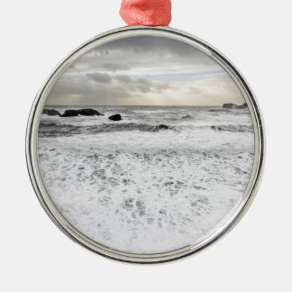 Pale foamy ocean seascape, Iceland Silver-Colored Round Decoration