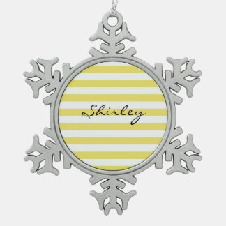 Pale Gold and White Stripes by Shirley Taylor Snowflake Pewter Christmas Ornament