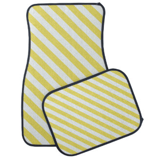 Pale Gold And White Stripes Car Mat