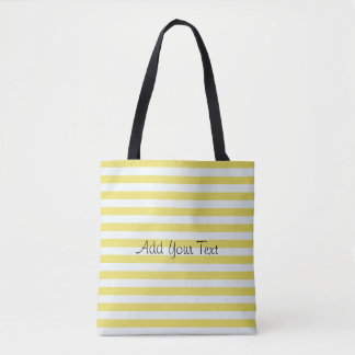 Pale Gold And White Stripes Tote Bag