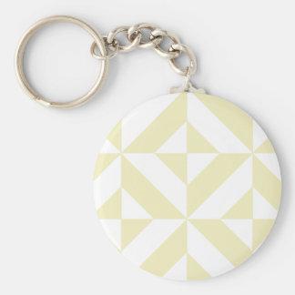 Pale Gold Geometric Deco Cube Pattern Key Chains