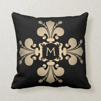 Pale gold monogrammed fleur de lis cross cushion