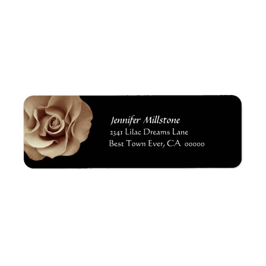 PALE GOLD Rose Wedding Address Label