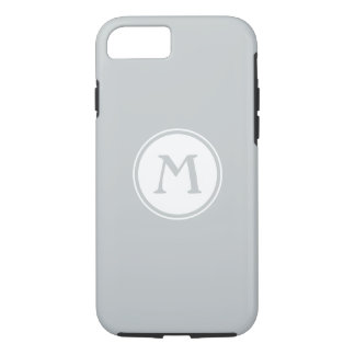 Pale gray and white nautical monogram iPhone 7 case