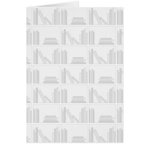 Pale Gray Books on Shelf. Greeting Card