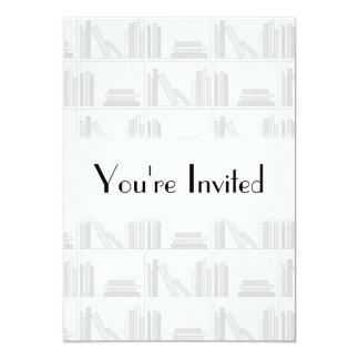 "Pale Gray Books on Shelf. 5"" X 7"" Invitation Card"
