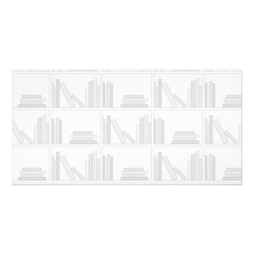 Pale Gray Books on Shelf. Personalized Photo Card