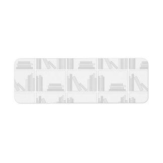Pale Gray Books on Shelf. Return Address Label