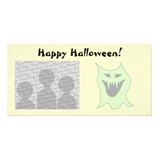 Pale Green and Gray Monster Cartoon Photo Greeting Card