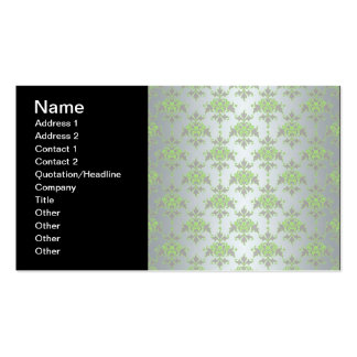 Pale Green and Silver White Damask Pattern Business Card Template