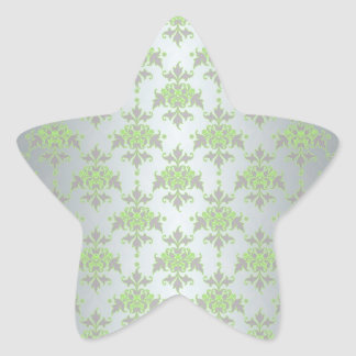Pale Green and Silver White Damask Pattern Star Sticker