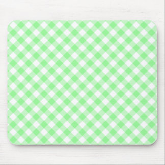 Pale Green and White Diagonal Gingham Mouse Pad