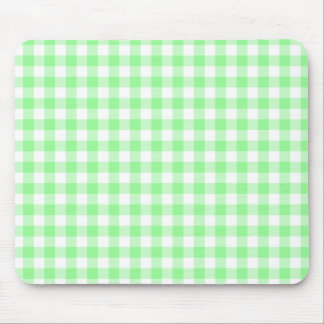 Pale Green and White Gingham Mouse Pad