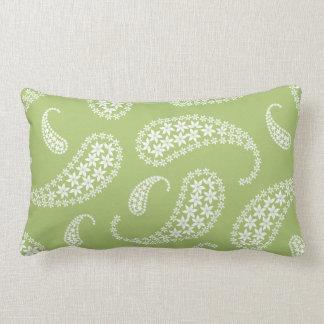 Pale green and white paisley lumbar cushion