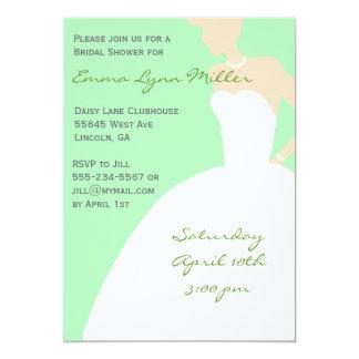 Pale Green Bride Silhouette Bridal Shower Invitati 5x7 Paper Invitation Card