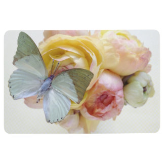 Pale green butterfly on flowers floor mat
